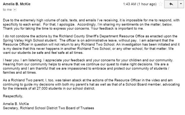 Statement from Secretary of Board of Trustees Of Richland School District Two Re: #AssaultAtSpringValleyHigh https://t.co/5QOdzDXLLd