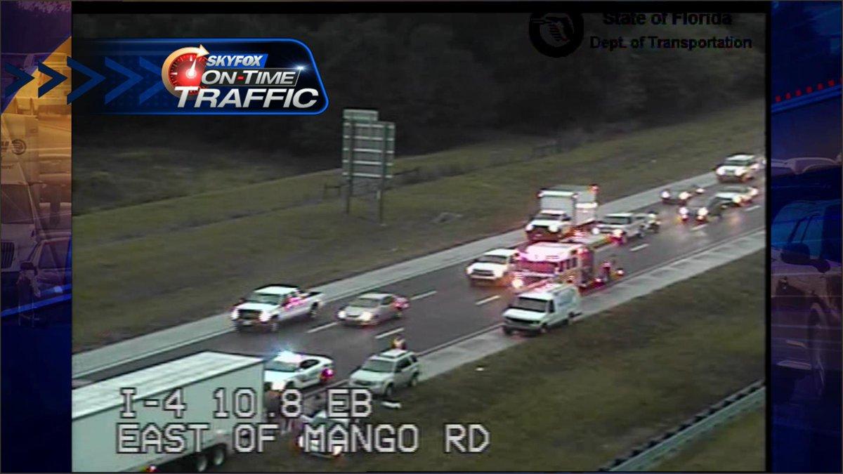 Mango Rd Totally : Crash WB left lanes blocked Mango Totally jammed