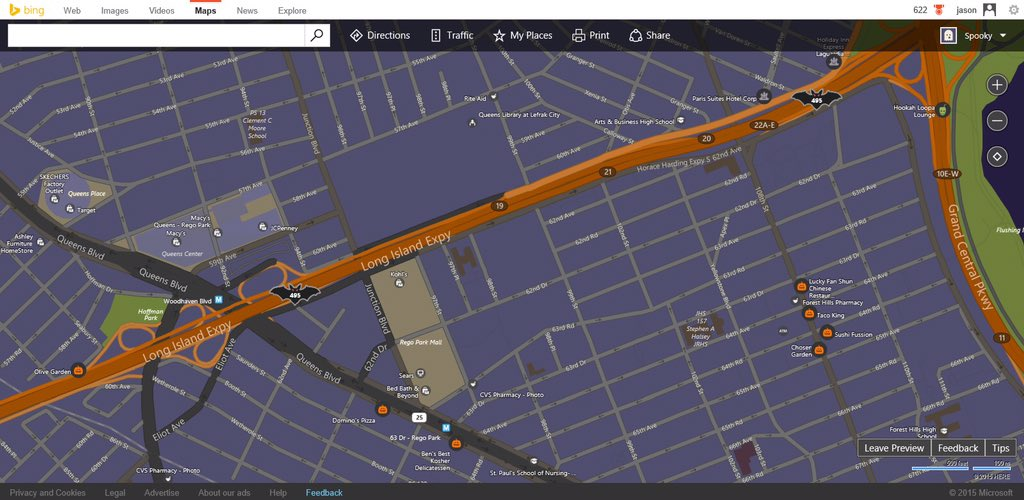 Spooky #Halloween (Bing) Maps are so cool!