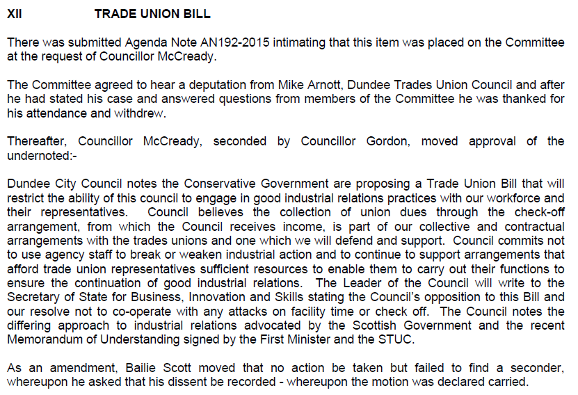 I've written to my MSPs asking them to oppose the #TUBill I moved motion that committed @DundeeCouncil to oppose it https://t.co/j4TUDaYsoP