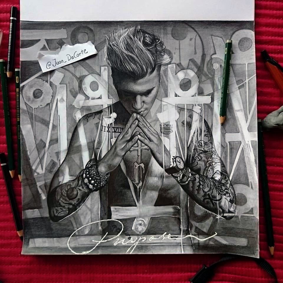 I made this drawing of the #PURPOSE album cover!
