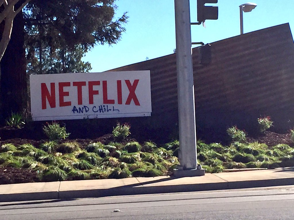 "Someone turning ""Netflix and chill"" into graffiti outside Netflix's Los Gatos HQ... https://t.co/7nEre4ouvg"