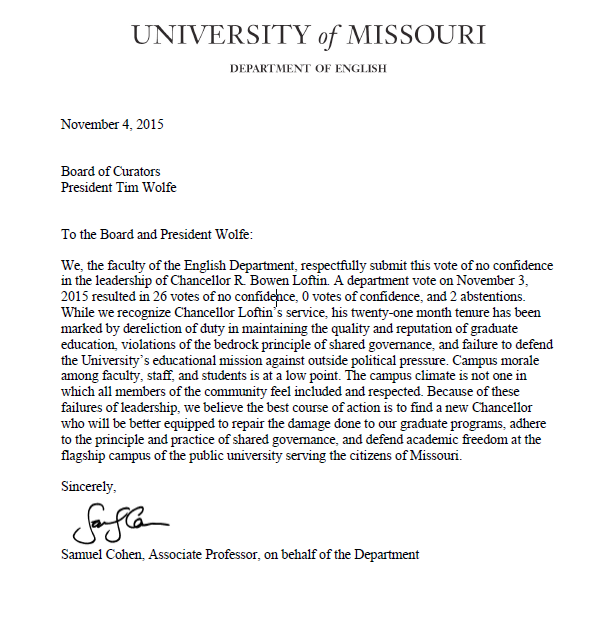 University of Missouri English Department casts a 26-0 vote of no confidence in Chancellor R. Bowen Loftin #Mizzou https://t.co/okFh5zNDkD