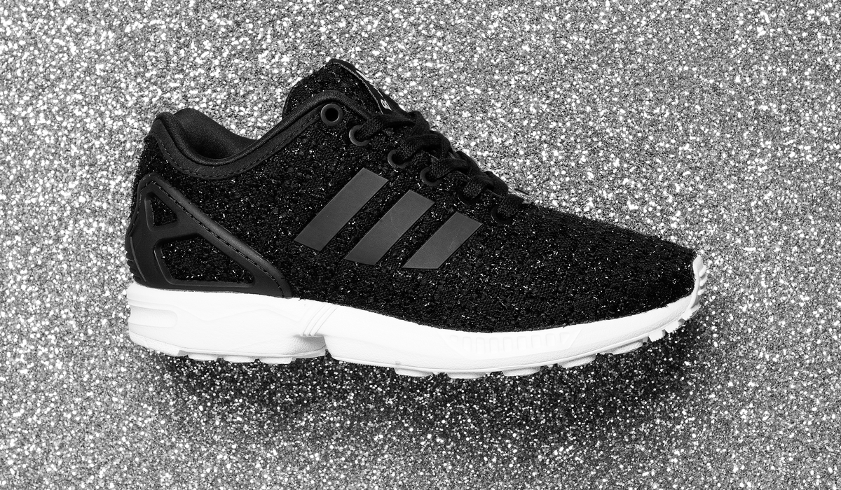 womens adidas black & white zx flux trainers