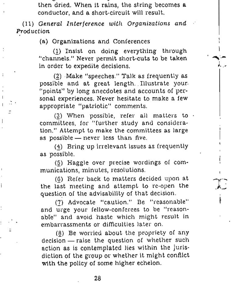 A 1944 OSS field manual suggests CIA operatives have been sabotaging every organization you've ever been a part of. https://t.co/QnNkFIKjue