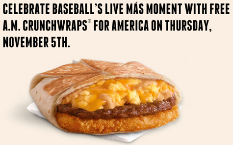 Get a Free Taco Bell Crunchwrap Nov. 5 (that's tomorrow) from 7-11am :: https://t.co/eUK7tPmbUS https://t.co/iq3NAQE8xr