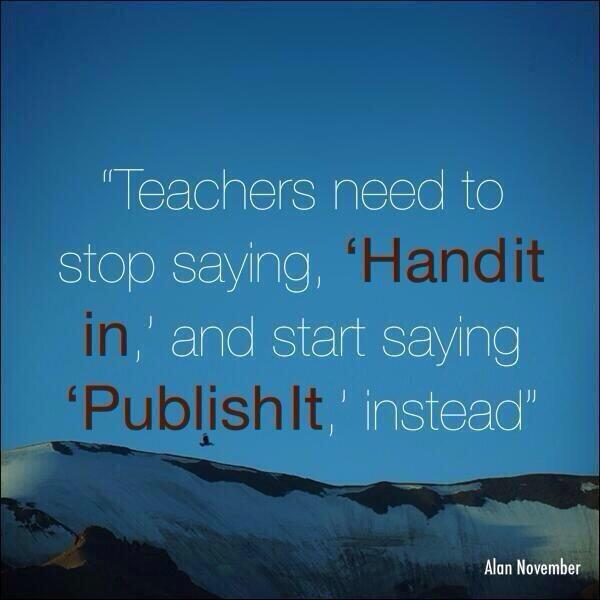 """Teachers need to stop saying """"hand it in"""" and start saying """"publish it"""" instead! I love this! #TM2015 #aasl15 https://t.co/CX0SZG2phD"""
