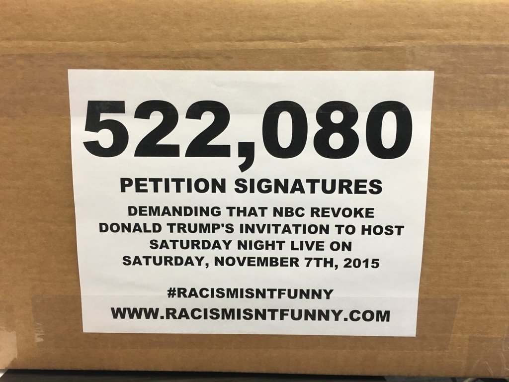 Thumbnail for Leaders Deliver Over Half A Million Petition Signatures Telling NBC And SNL That Trump's #RacismIsntFunny