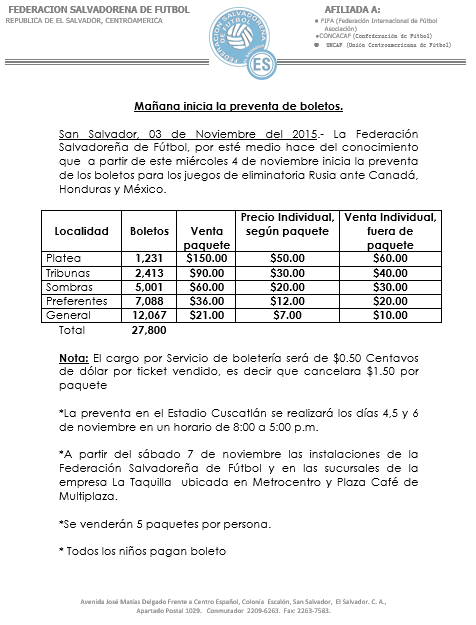 Rusia 2018: El Salvador vs Canada en el Cuscatlan el 17 de noviembre del 2015.  Informacion del juego. CS_yuQ9WUAAQqFs