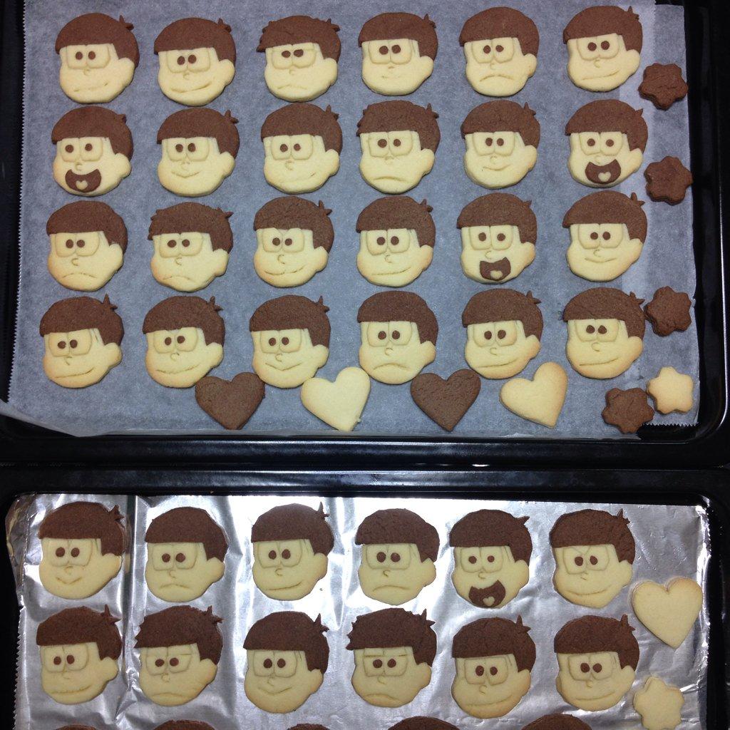 おそ松さんクッキー(+おまけ)焼けました!!36松います!! pic.twitter.com/vheXgb1ICE