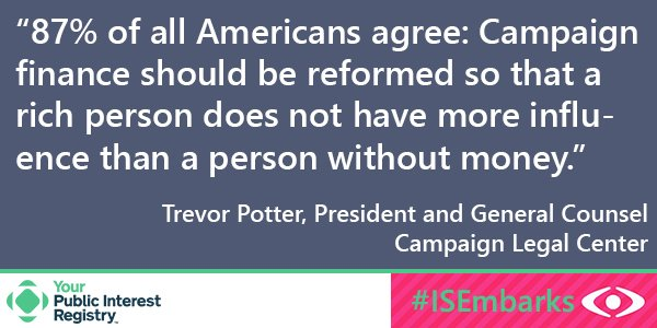 #ISEmbarks On the subject of campaign finance reform and #CitizensUnited: https://t.co/7sWjri6Qvi