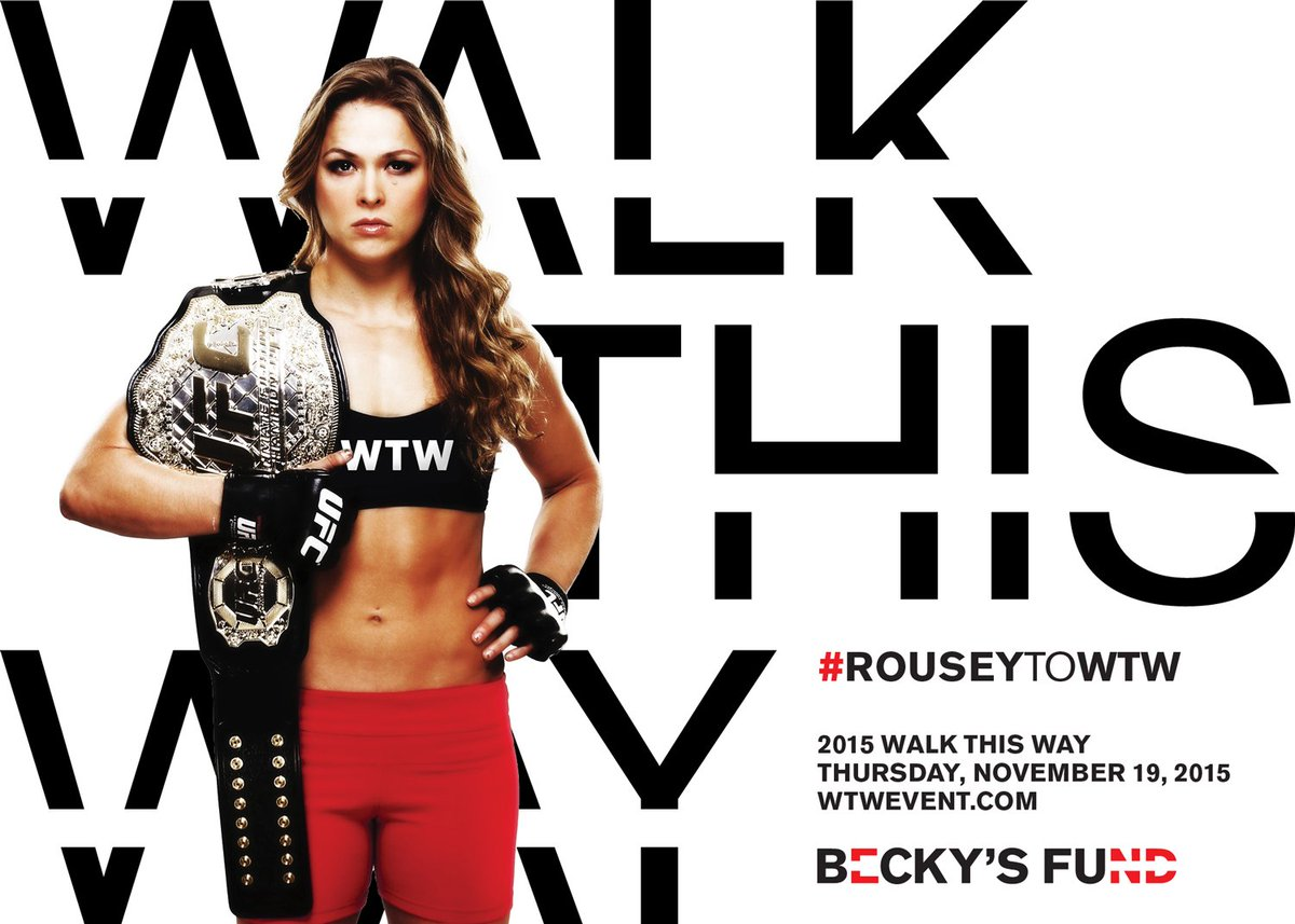 .@RondaRousey, will you be our Guest of Honor & #WalkThisWay to #EndDomesticViolence? RT to bring #RouseyToWTW https://t.co/2X4wgziiO1
