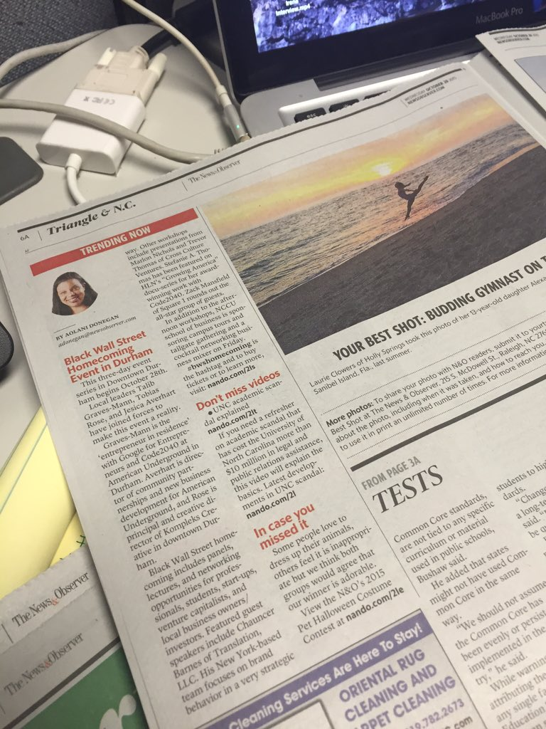 .@TalibValue pick up a copy of @newsobserver! #bwshomecoming sounds like a great #Durham event for #entrepreneurs https://t.co/CATYjvftVn