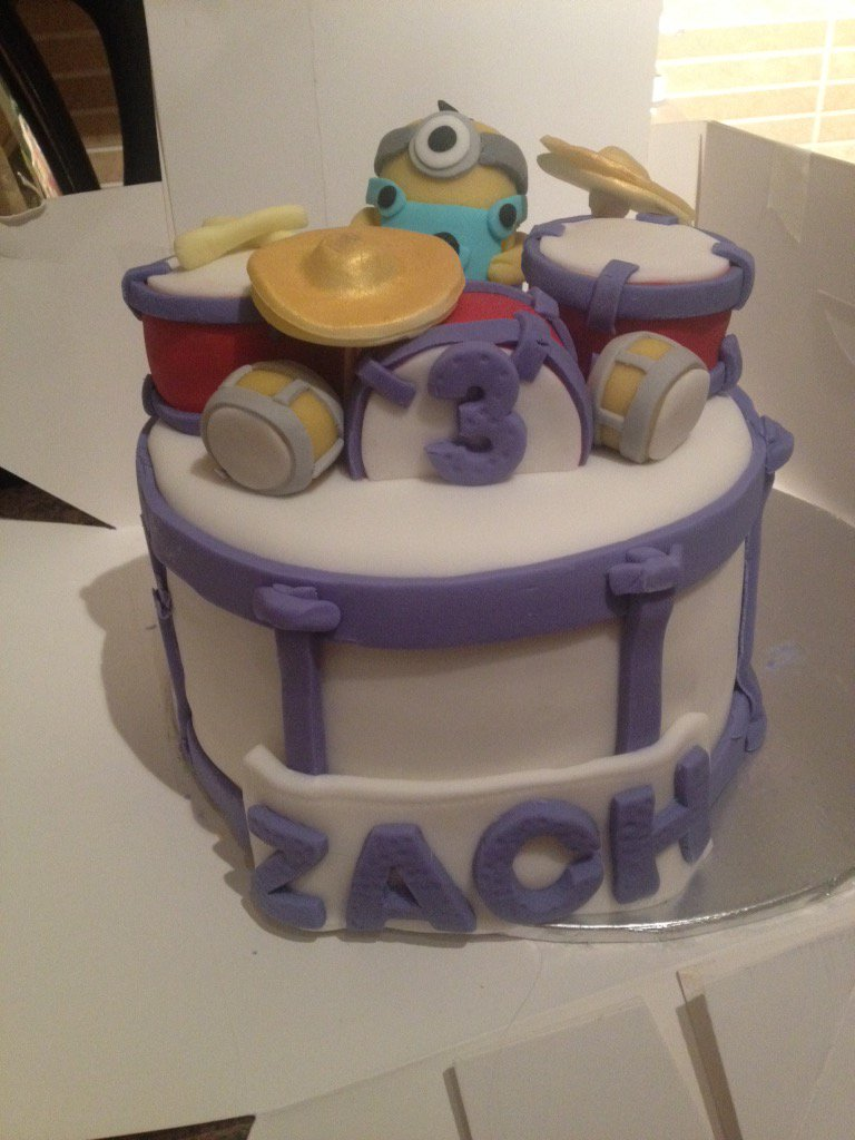 Jamie On Twitter Zachs Birthday Cake Drums Minion And Full Of