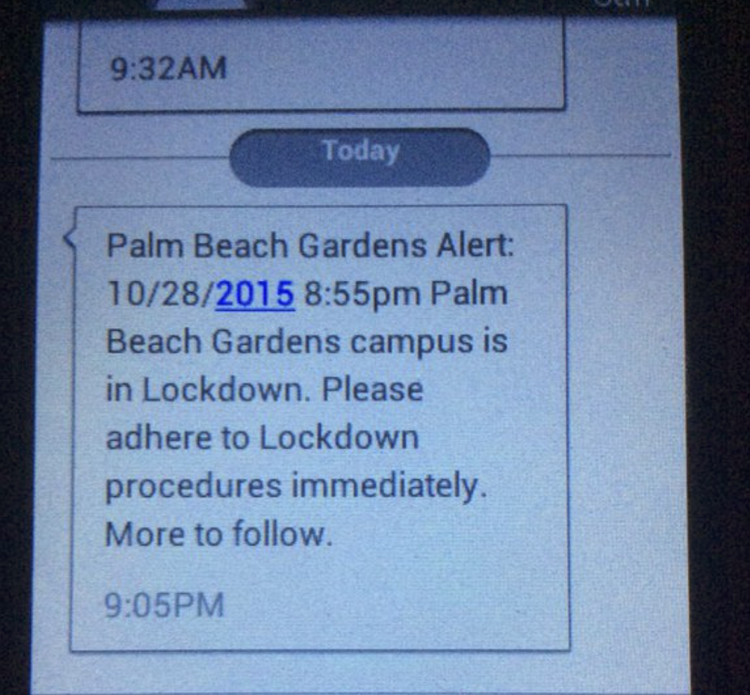 Breaking Palm Beach State College Palm Beach Gardens Campus Is On Lockdown