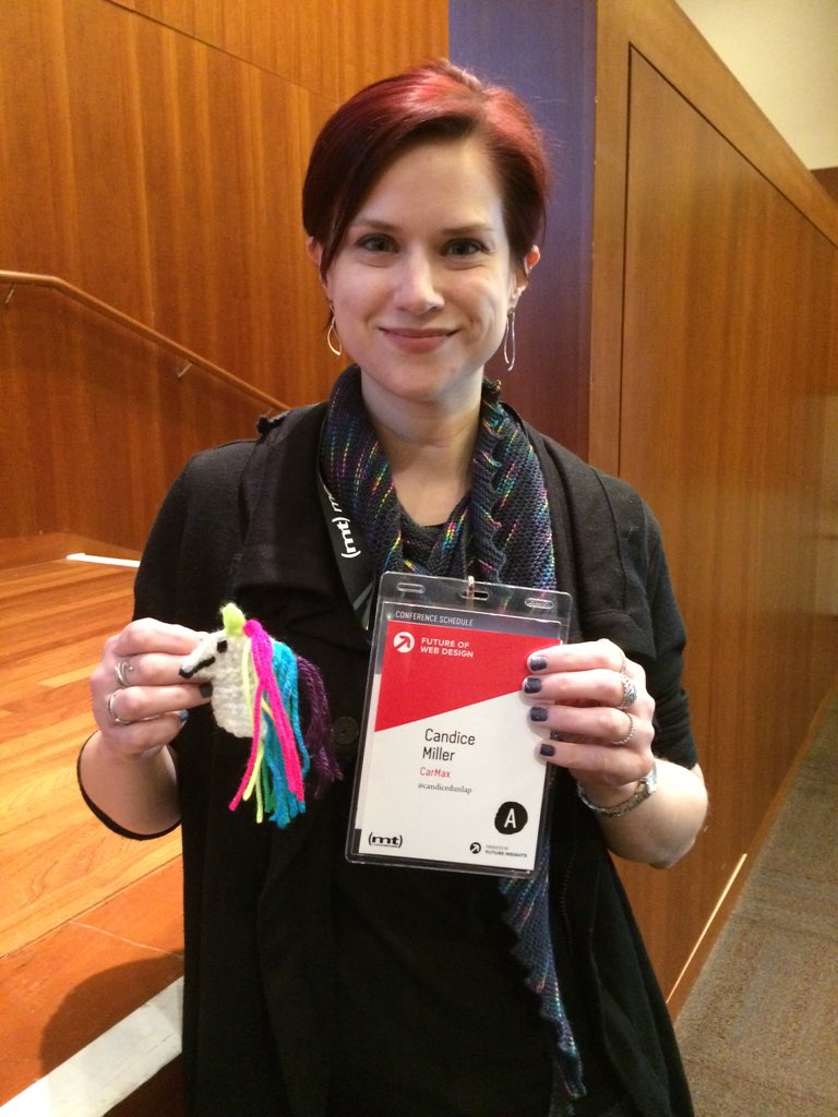 Too sweet! @candicedunlap crocheted me this unicorn pin! <33 https://t.co/dYrrIGkZhq