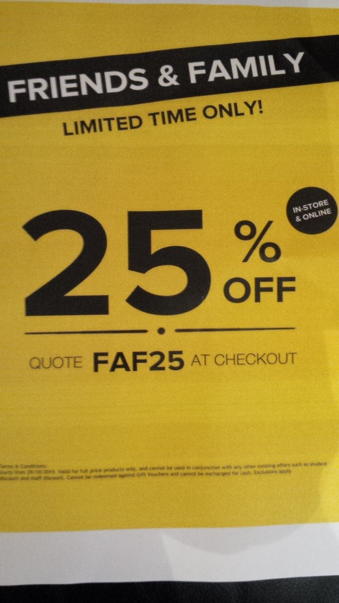 25%Friends&Family Event @SelectFashion #Haverfordwest #FAF25 limited time. 25%off full price