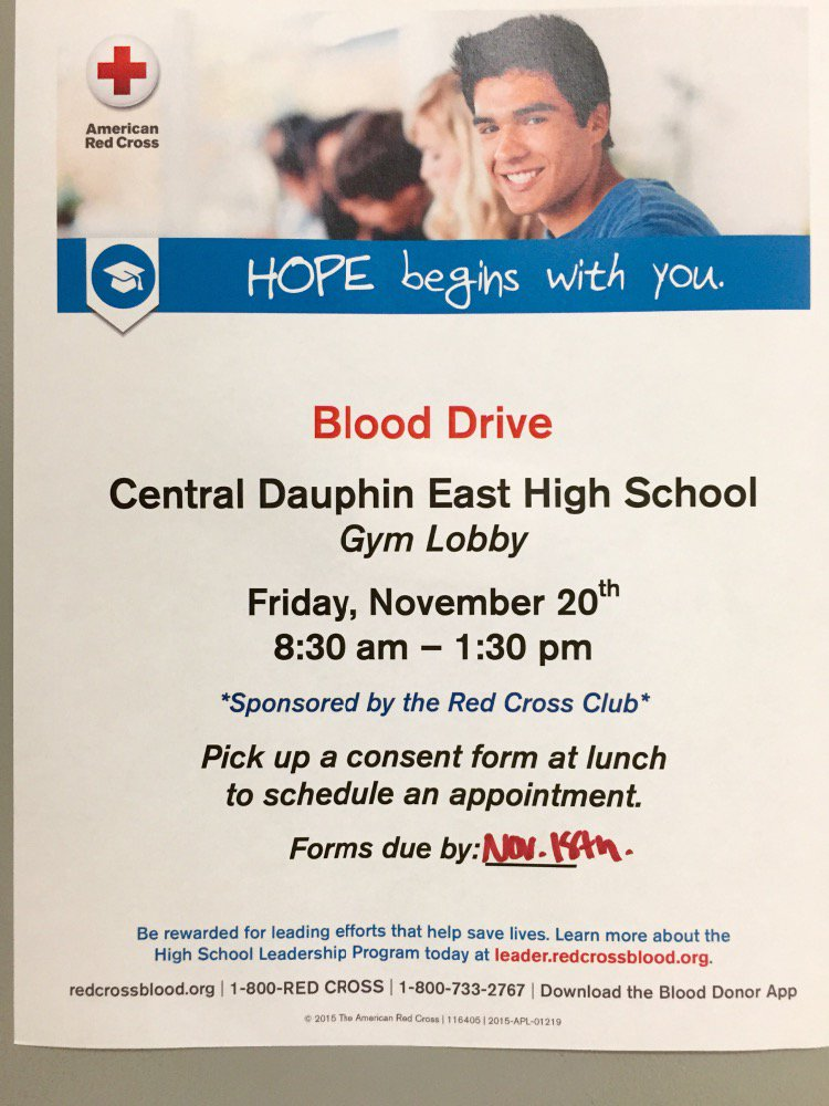 Cd East High On Twitter Blood Drive On November 20th Httpstco
