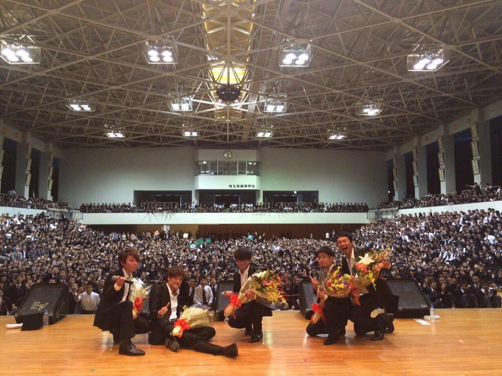 今日は埼玉栄の中学生と高校生、約3000人の生徒のみんなに会ってきたよ。部活が凄く強くて、なんだかもうそこら中にトロフィーとかありまくり。スポーツ選手とか、栄出身ってきいたらなんか応援しちゃうかもしれないな!またね! https://t.co/bFuioQDbGe