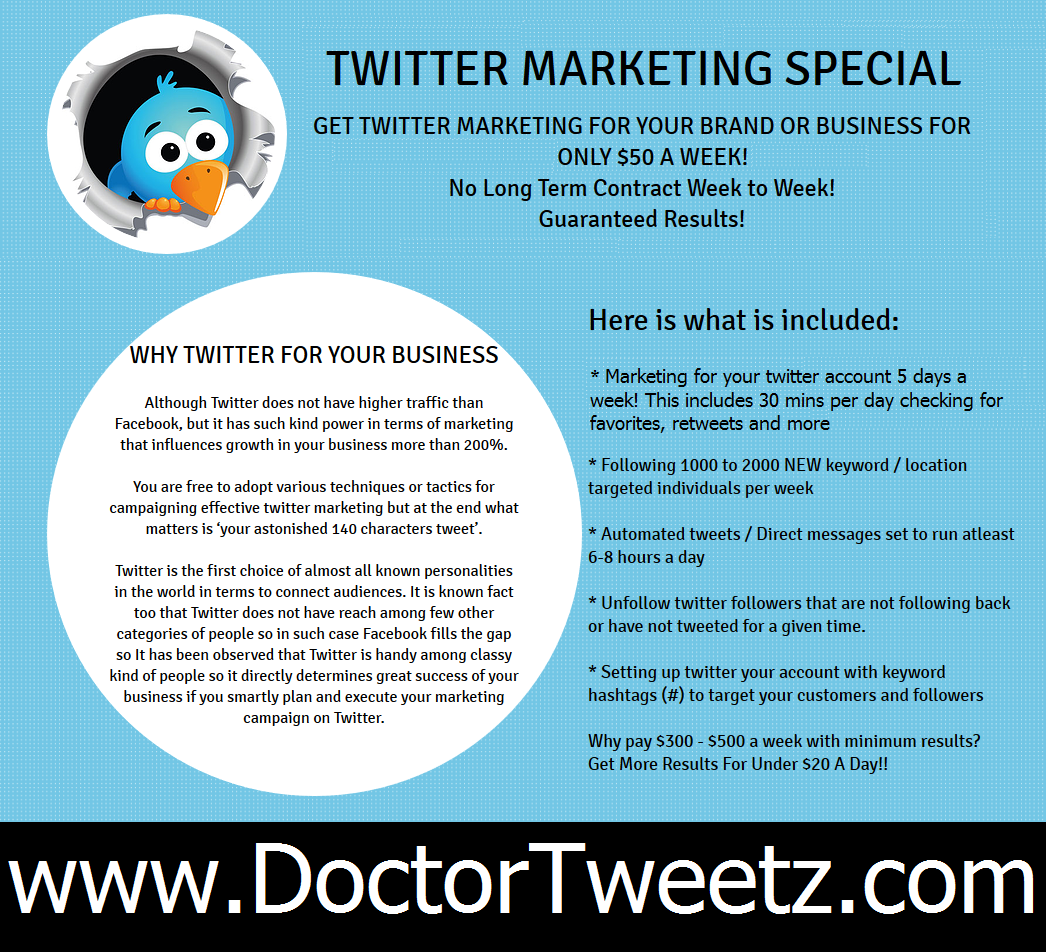 >>< Business #Twitter Special with multiple months agreement discount!! http://www.DoctorTweetz.com #advertising