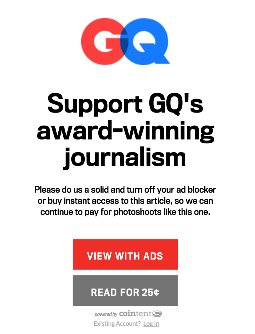 GQ's message to freeloading readers - watch the ads or pay up