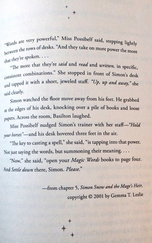 "Here's the equivalent ""how spells work"" passage in FANGIRL @elizabethminkel https://t.co/2KCPRKnSp5"
