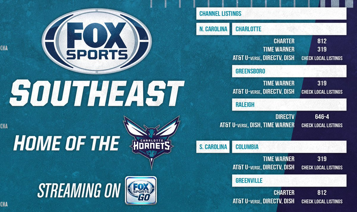 looking for @hornets game tonight? here are your channel listings
