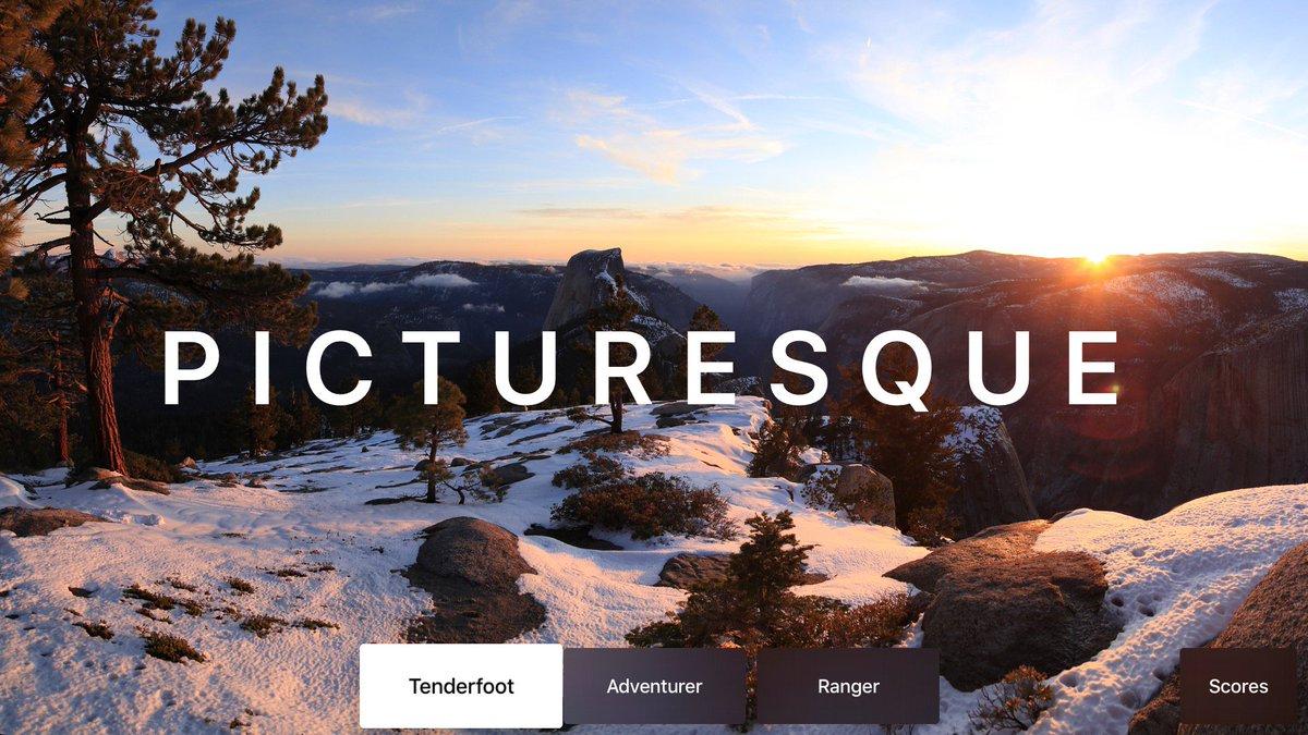 Introducing Picturesque - National Parks Image Trivia Game for Apple TV! https://t.co/49FFQHkoKA https://t.co/VxNhkAkVUV
