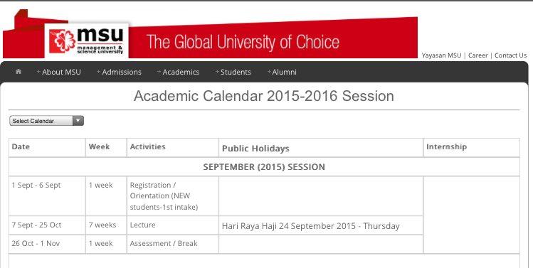Msu Academic Calendar.Msu Malaysia On Twitter Link To Academic Calendar Https T