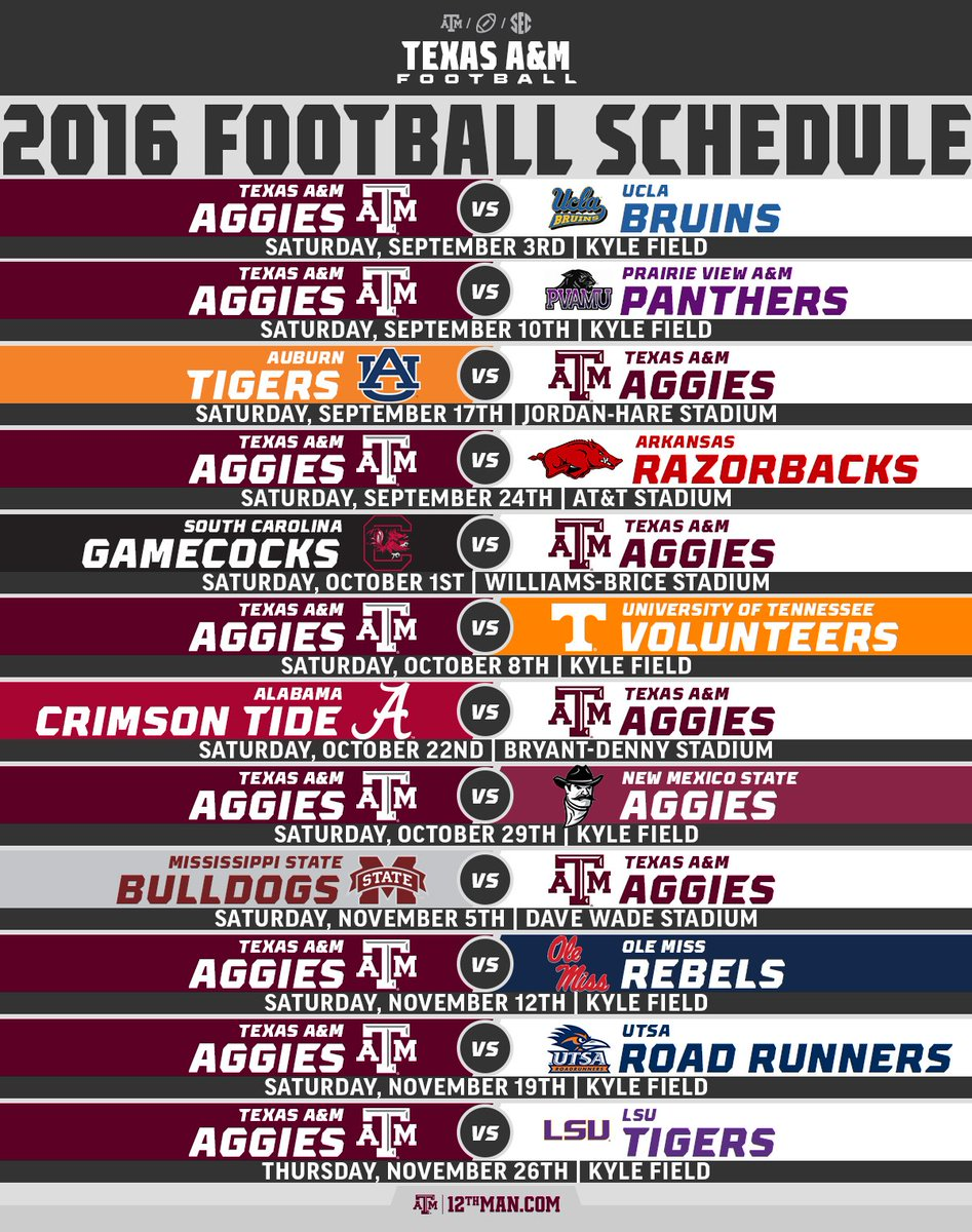 texas a and m schedule