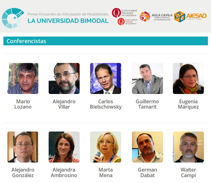 I° Encuentro de Articulación de Modalidades- La Universidad Bimodal @Bimodalidad @AULA_CAVILA @AIESAD @uvquilmes https://t.co/N9SBmCIa12