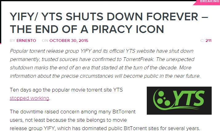 is yts shut down