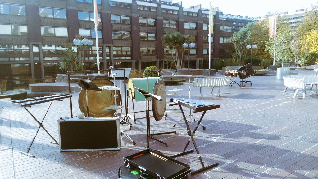 One of the many setups for #Inuksuit @BarbicanCentre for #soundunbound festival. Performance 4:30. Come along! https://t.co/mc1KoFBG1i