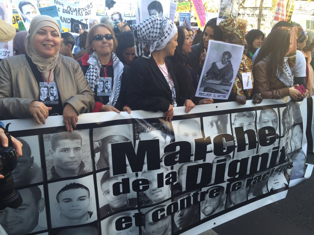 The frontline and backbone of the demonstration. The Women for dignity!!  #MarcheDeLaDignite https://t.co/7sovuHgfUI