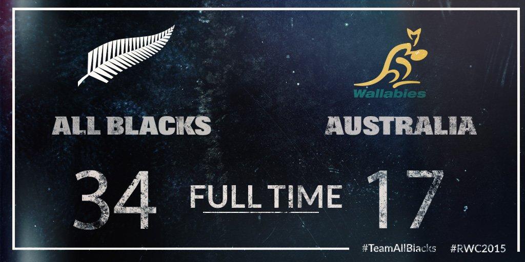 Thats it!! All Blacks win 34-17! #NZLvAUS #TeamAllBlacks #RWC2015 https://t.co/sZ8Qmdwxj1