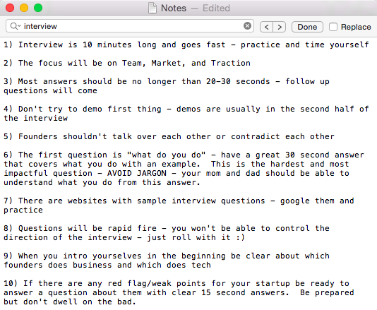 My top ten pieces of advice for preparing for a YC Interview, good luck!