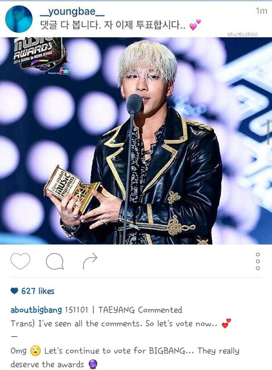Omg youngbae commented.. lets vote now ❤❤❤ @YB_518 https://t.co/jbxUkHjjzb