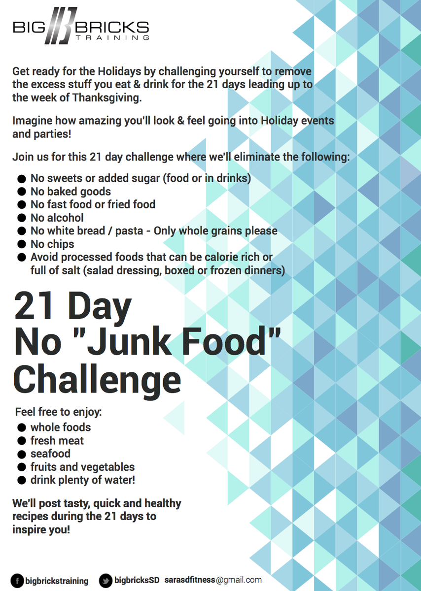 """Big Bricks Training on Twitter: """"21 Day No """"Junk Food"""" Challenge: Look  amazing for holidays by eating better! #getfit #diet  https://t.co/0nwbOF92yP ..."""