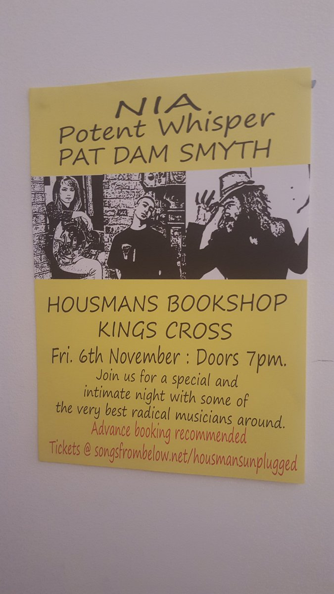 Don't forget, this Friday Nia, Pat Dam Smyth and Potent whisper will be playing  at Housmans https://t.co/03J6Ezlue9 https://t.co/NoDYZxnMbq