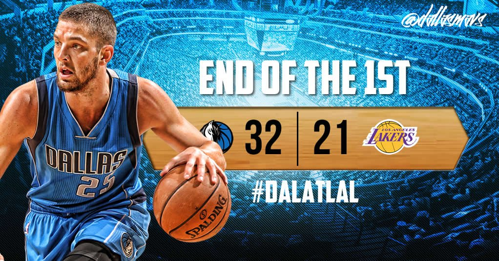 Good seeing @ChandlerParsons back on the Floor! Dirk 8 pts & Wes 6. Mavs 32 @lakers 21 at the end of 1Q. #DALatLAL https://t.co/s5DxrgEP9Y