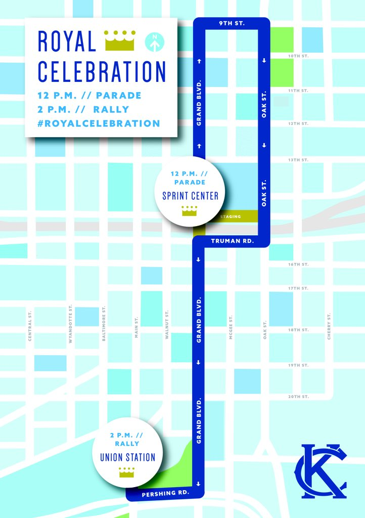It is a #RoyalCelebration on Tuesday to celebrate our 2015 World Champs! Parade route attached. #Royals https://t.co/vODU6YKzeV