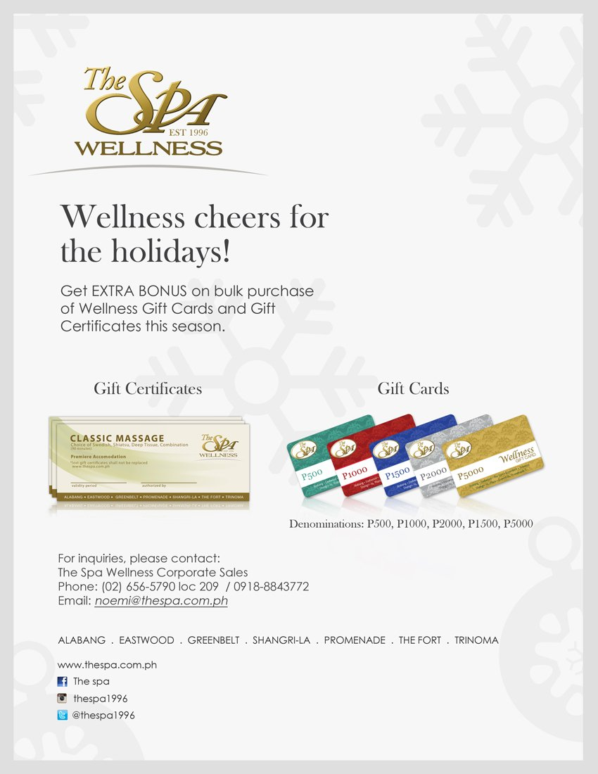 The Spa On Twitter The Spa Wellness Gift Certificates Wellness