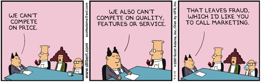 Dilbert: when all else fails, there's fraud (er, marketing!) https://t.co/qTGhcxUvTy https://t.co/oRwjLUUnzo