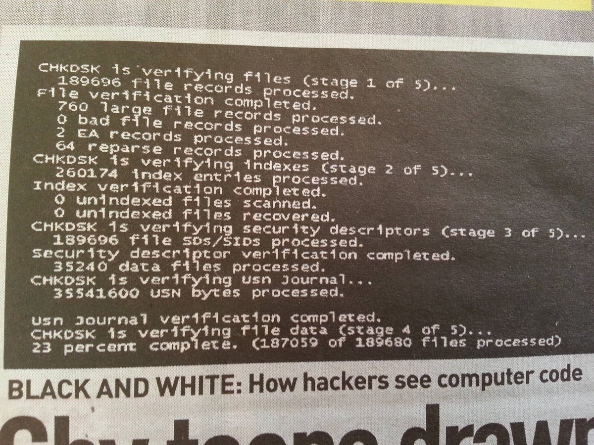 "Running CHKDSK is apparent ""hacking"". https://t.co/27lx08sqJd"