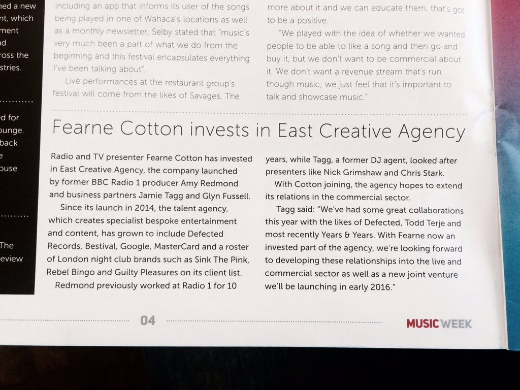 RT @eastcreatives: We are very proud to welcome @Fearnecotton to the East Creative family! https://t.co/Y7WrTEJ3Q5