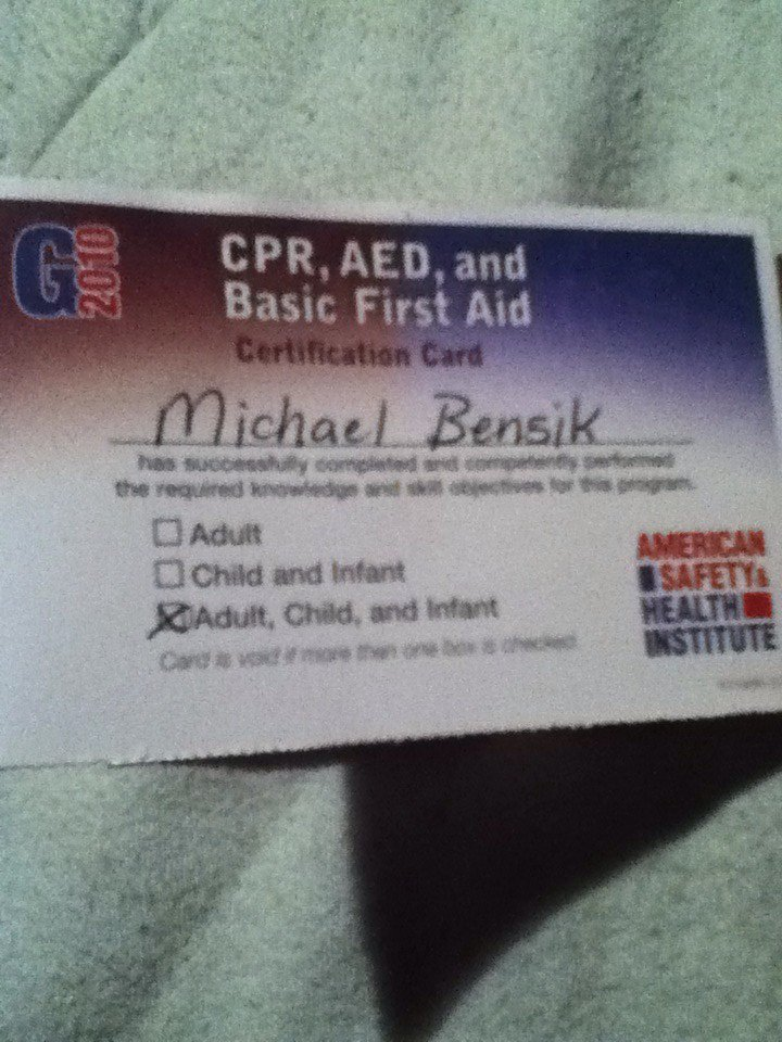 Michael Bensik On Twitter Cpr Aed And Basic First Aid Certified