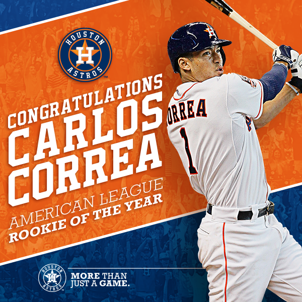 Congrats #Astros SS @TeamCJCorrea, the 2015 @officialBBWAA AL Rookie of the Year! #Represent #CorreaROY