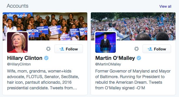 Why is twitter promoting @hilaryclinton and @martinomalley to me when I search #demdebate? Where is @BernieSanders https://t.co/CcPgUB4idJ