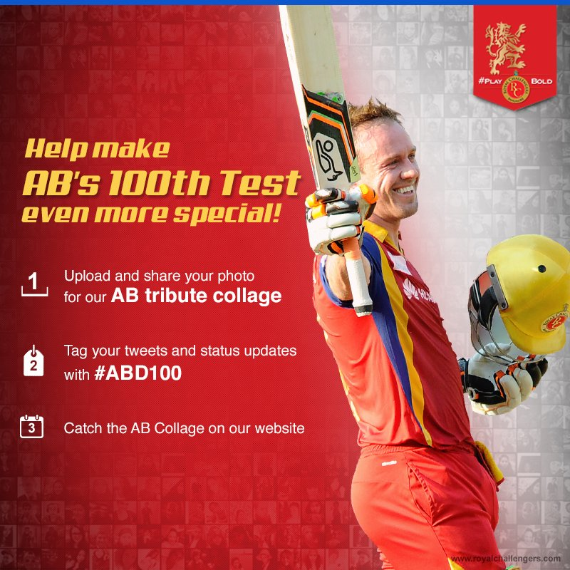 Royal Challengers On Twitter Send In Your Photos And Messages For The ABD100 Collage Tribute Here Tco TymrBC5Ycs Tt7tVPA8op