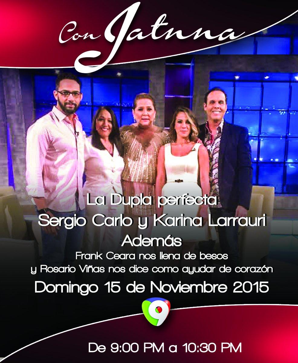 Hoy en @conjatnna nos visitan la dupla perfecta @sergiocarlo y @KarinaLarrauri. La musica a cargo de @FrankCeara https://t.co/23UqhLb7Bk